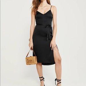 A&F Black Satin Midi Dress
